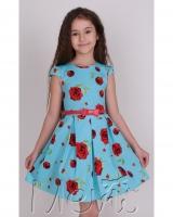 "Платье голубое ""Bright roses"" Mevis"
