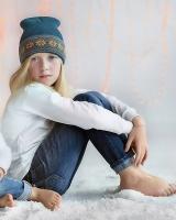 """Шерстяная шапка бирюзовая """"Снежинки"""" Софія"""