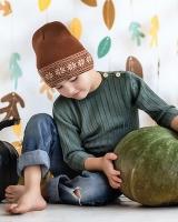 """Шерстяная шапка коричневая """"Снежинки"""" Софія"""