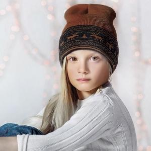 """Шерстяная шапка коричневая """"Олени"""" Софія"""