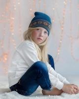 """Шерстяная шапка серо-бирюзовая """"Снежинки"""" Софія"""