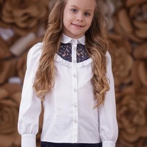 """Детская блузка с кружевной кокеткой """"White/Blue"""" Zironka"""