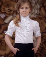 """Детская блузка с коротким рукавом """"Жабо""""  Zironka"""