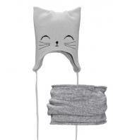 """Детская шапка со снудом """" Серый котик """" Nikola"""